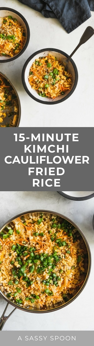 Love fried rice? Here's a healthier alternative made with riced cauliflower, peas, carrots, kimchi, garlic, soy sauce, and chili paste. Ready in just 15-minutes!