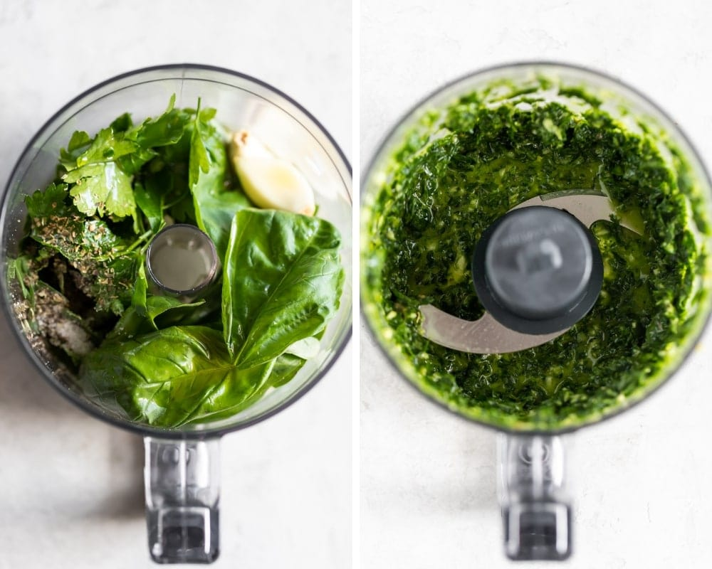 chimichurri ingredients in food processor
