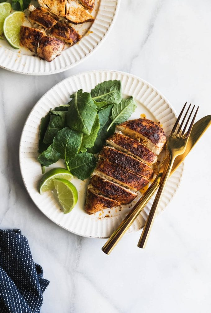 Tender, juicy chicken breasts made with a homemade smoky, savory and sweet spice rub. It's the ultimate weeknight dinner recipe!