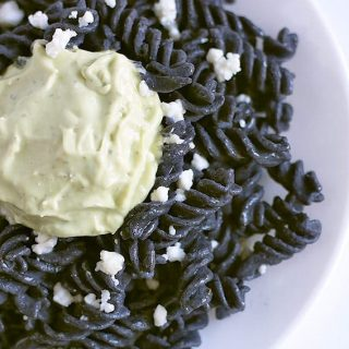 Black bean rotini served with avocado crema