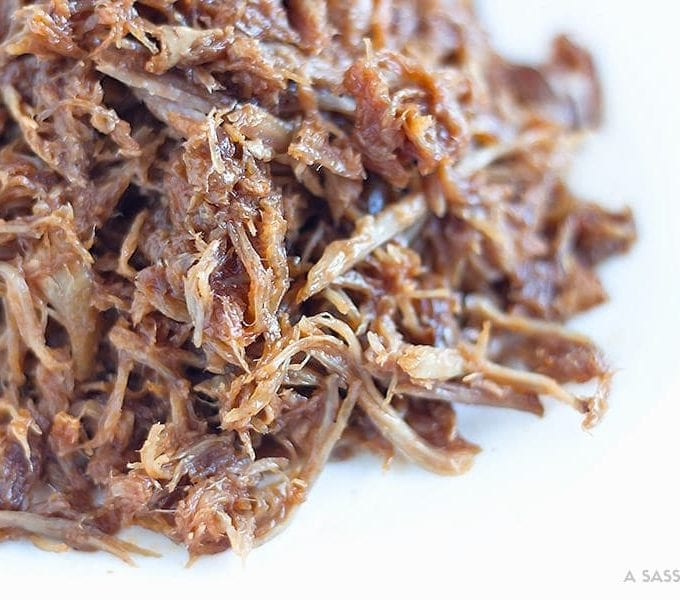 cooked shredded pork marinated in honey whiskey