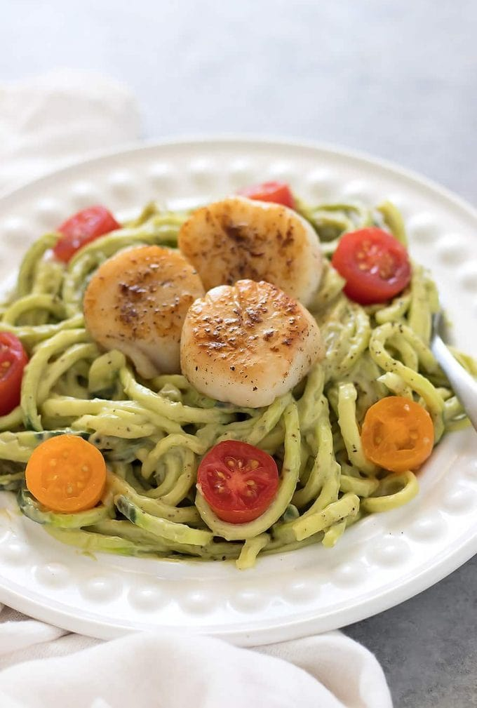 Seared Scallops on Zucchini Noodles with Avocado Sauce
