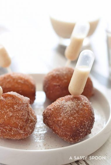 Coquito Spiked Donut Holes (Puerto Rican Eggnog)