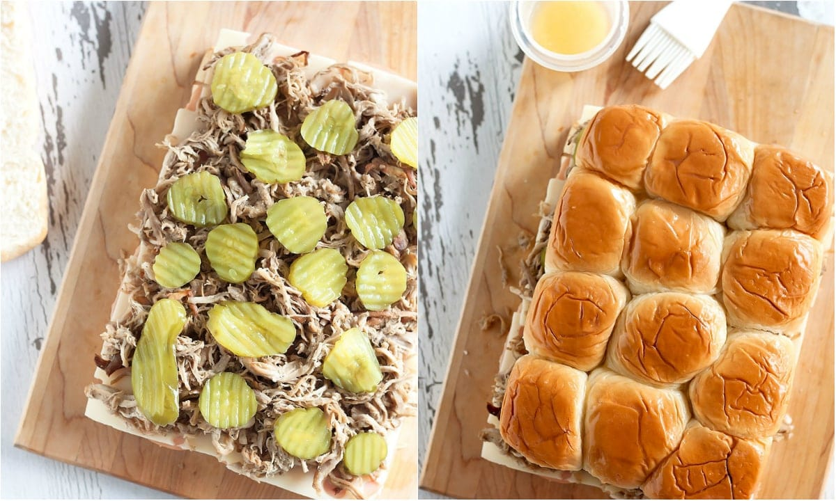 Cuban medianoche sandwiches turned Cuban sliders! Ham, swiss cheese, Cuban-style pulled pork, pickles & mustard on toasted, buttered Hawaiian dinner rolls. Perfect for game day or entertaining at home!