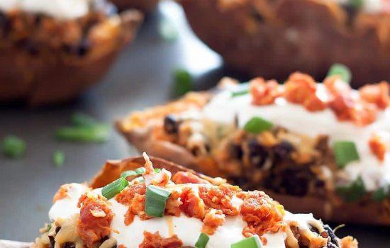 Gouda-Chorizo Loaded Sweet Potato Skins