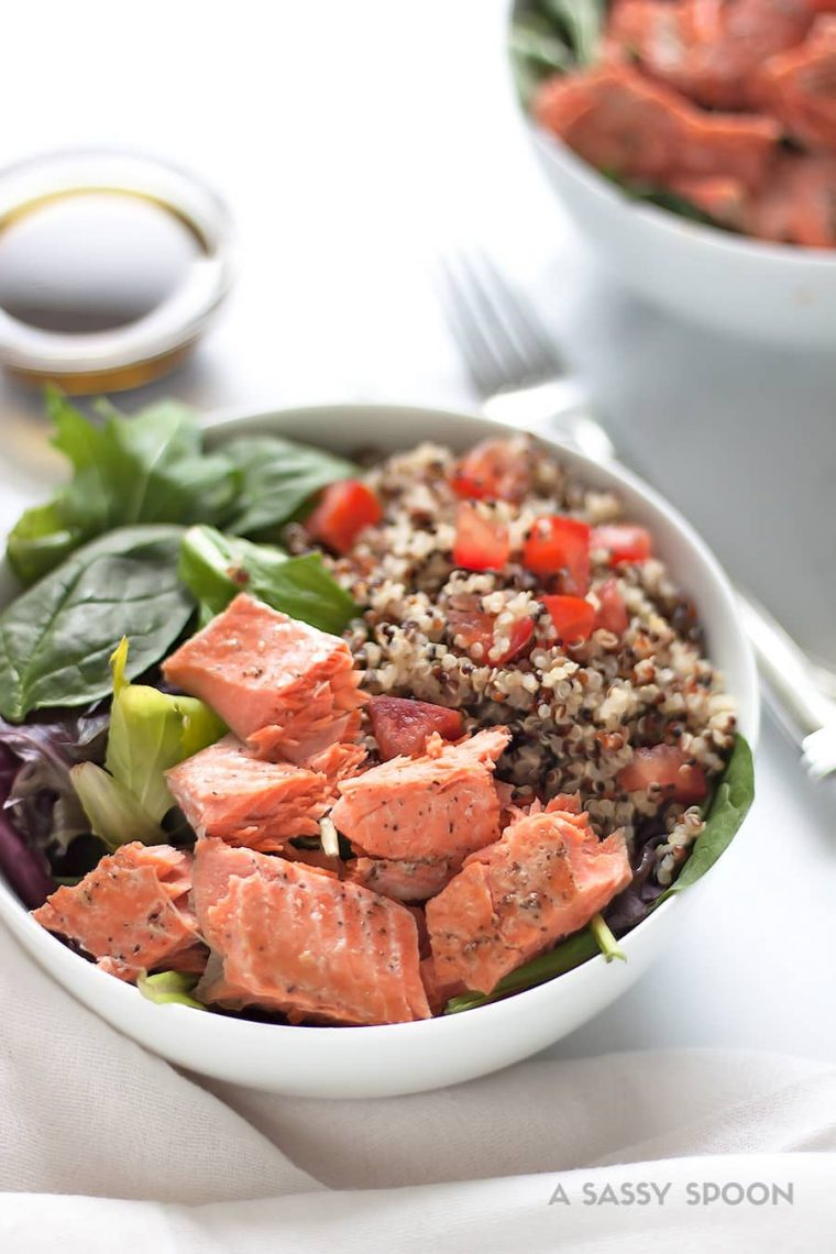 Salmon Quinoa Salad with Balsamic Olive Oil Dressing