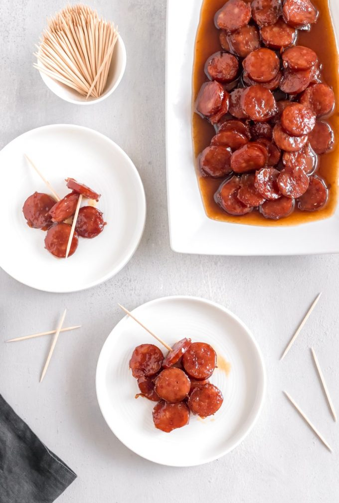 With just 3 ingredients, these Brown Sugar Glazed Kielbasa Bites will be your favorite appetizer. WARNING: They are addictive!