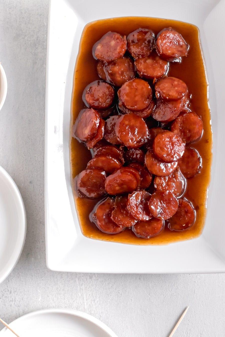 Brown Sugar Glazed Kielbasa Bites in serving dish