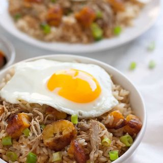 Easy Cuban Pork Fried Brown Rice. Brown rice with Cuban-style pulled pork, chopped sweet plantains, scallions, and a fried egg. An easy 20-minute meal using leftover pulled pork and brown rice!