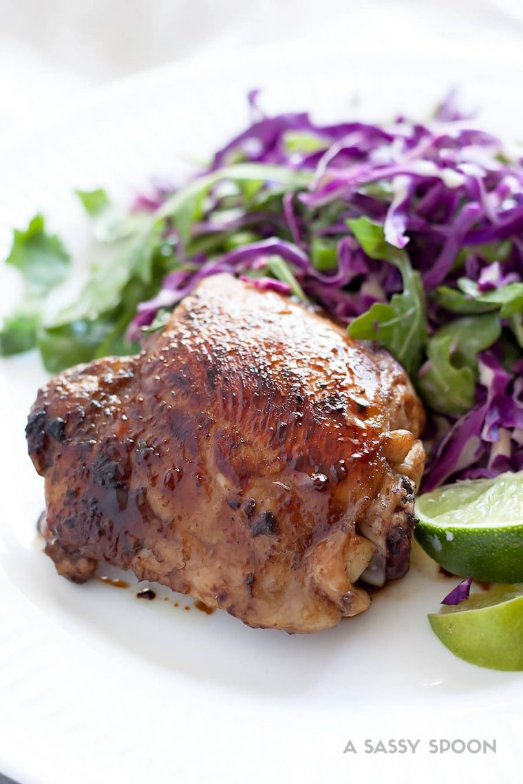 Honey Balsamic Chicken Thighs with Arugula Cilantro Lime Slaw