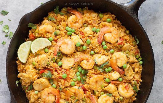 Healthy Chicken & Shrimp Paella