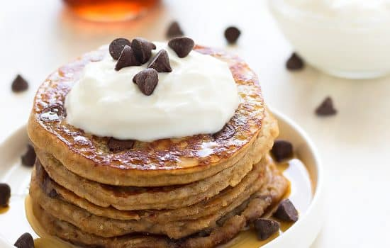 Healthy Chocolate Chip Pancakes {Grain-Free, Dairy-Free, Paleo}