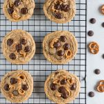 Brown Butter Pretzel Chocolate Chip Cookies. Salty sweet chocolate chip cookies made with nutty browned butter, crunchy pretzels, and dark chocolate chips.