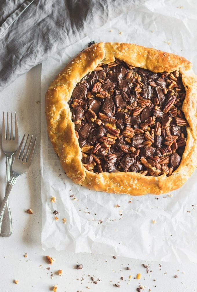 Everything you love about pecan pie but WAY easier. This flaky buttery pecan pie galette has dark chocolate, strong espresso, raw honey, and chopped pecans.