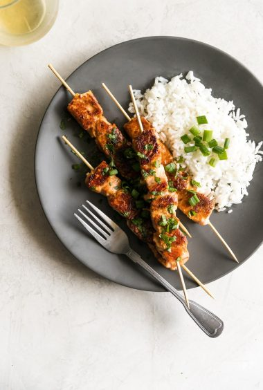 Quick + Easy Honey Garlic Salmon Skewers
