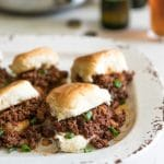 Sloppy joes with a delicious twist! Lean ground beef, Mexican chorizo, onions and spices in sweet Hawaiian rolls. Perfect for game day or any day!