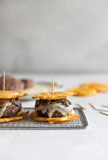 Mushroom Swiss Black Bean Toston Burgers