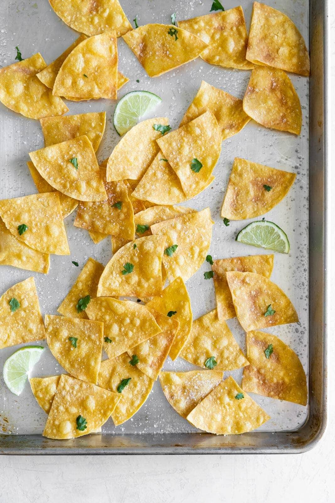 3 Ingredient Baked Sea Salt Tortilla Chips A Sassy Spoon