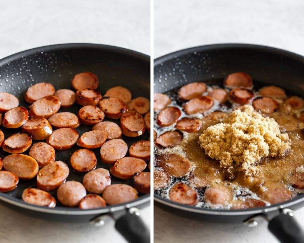 sliced kielbasa being browned on the pan and then being caramelized with brown sugar and coke