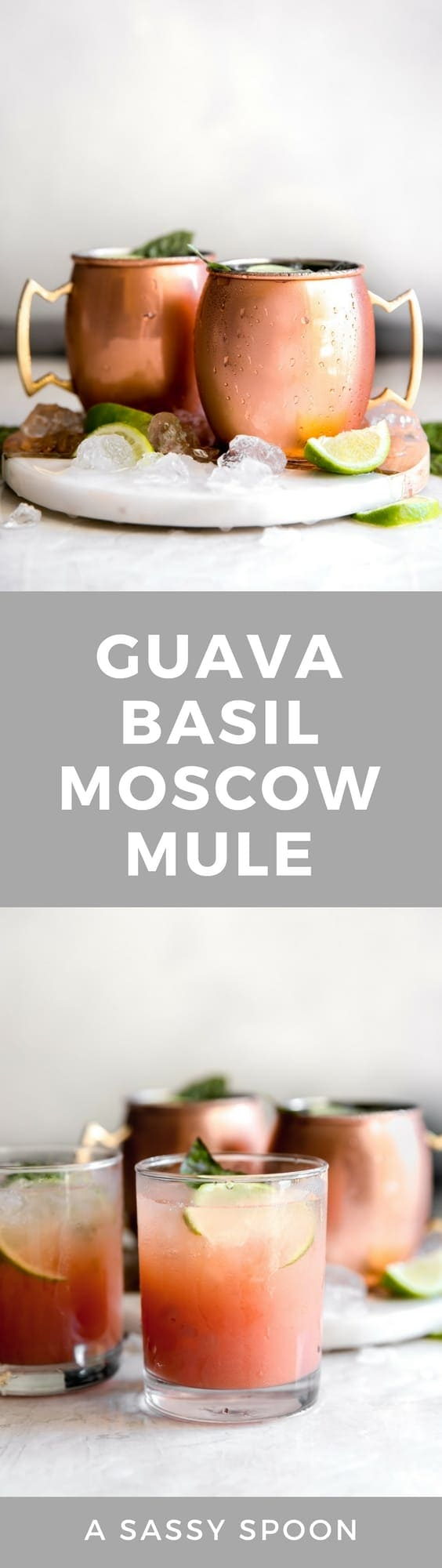 Guava Basil Moscow Mule. A twist to the traditional refreshing Vodka cocktail made with spicy ginger beer, guava nectar, fresh lime and sweet basil. Delicious drink for any time of year!