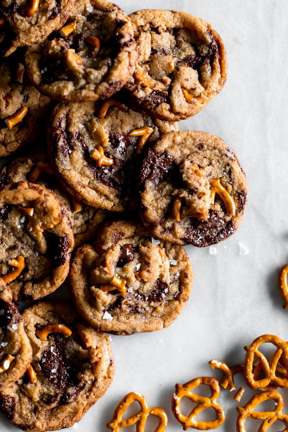 pretzel chocolate chip cookies on a marble slab