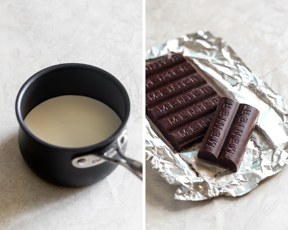 photo of whole milk in a saucepan and a thick chocolate bar