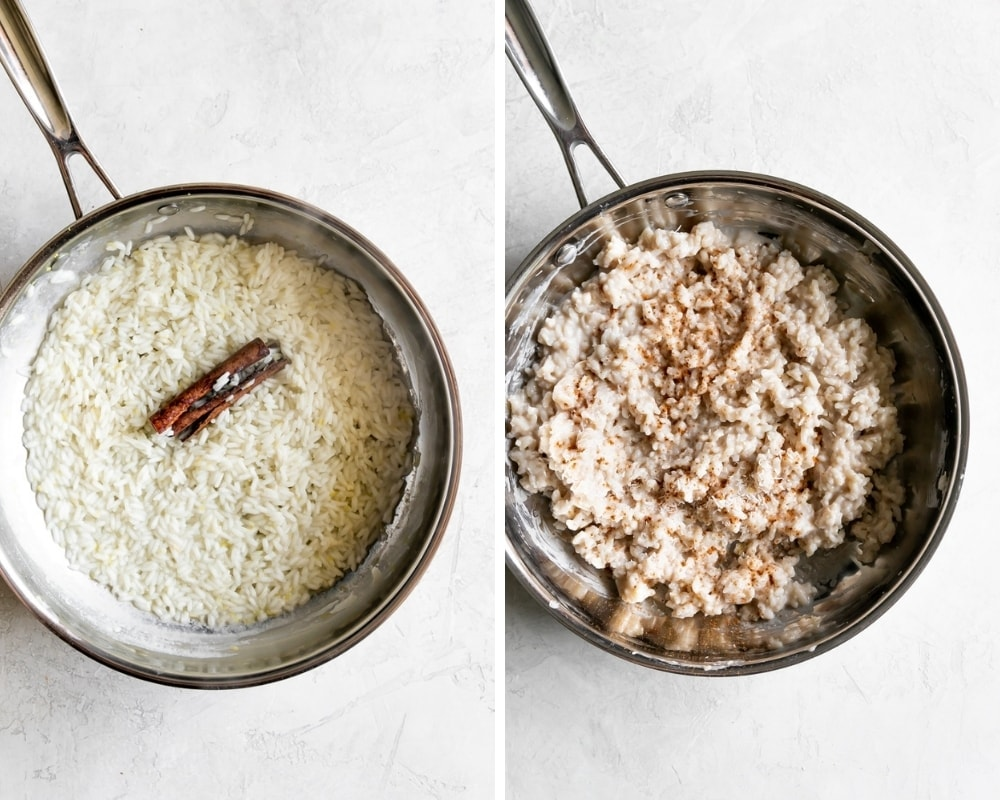 collage of rice pudding before and after with cinnamon and coconut flakes