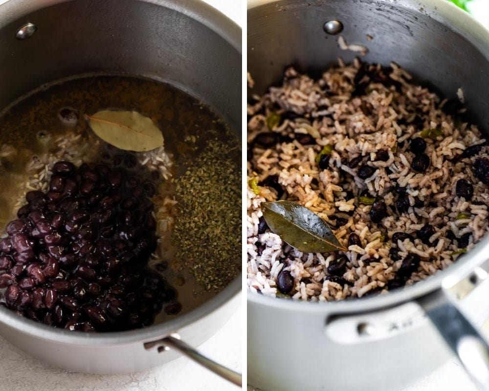 collage of black beans and rice ingredients cooked