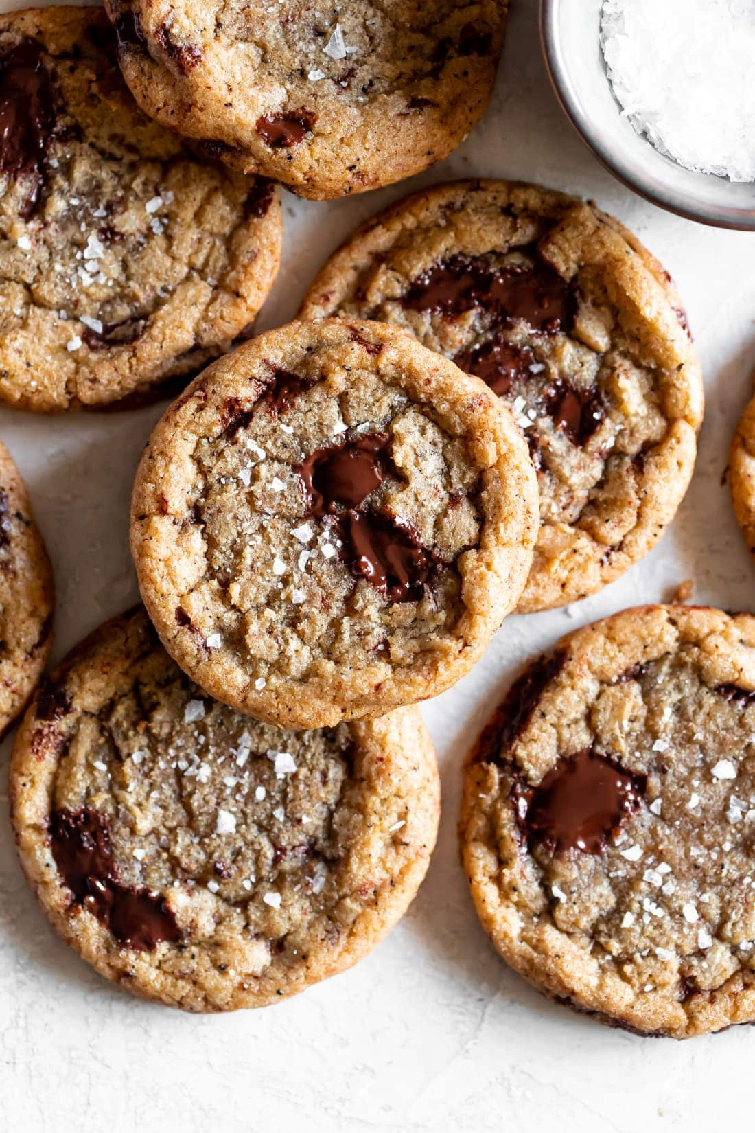 chocolate chip cookies made with brown butter, espresso powder, and chopped dark chocolate