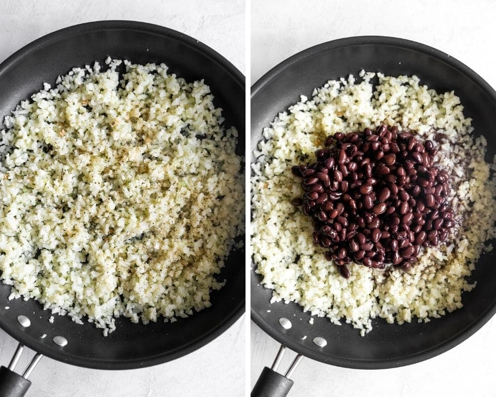 photo of pan with riced cauliflower and photo of riced cauliflower with black beans