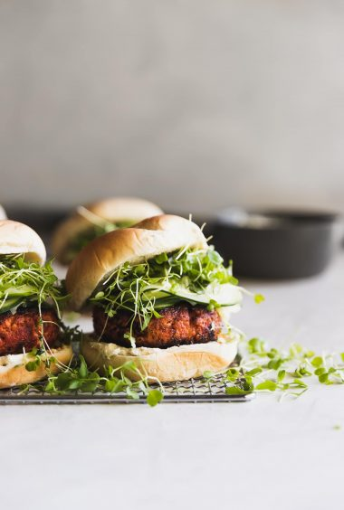 Blackened Salmon Burgers with Queso Fresco Cream Cheese Spread