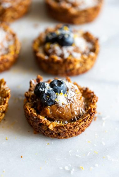 Dairy-Free Blueberry Cashew Butter Granola Cups