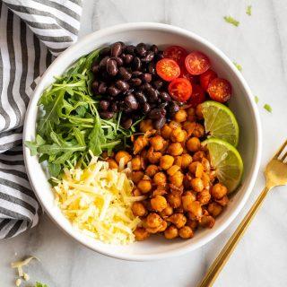 chipotle chickpea recipe in taco bowl