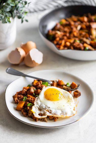 Chorizo Mushroom Sweet Potato Hash