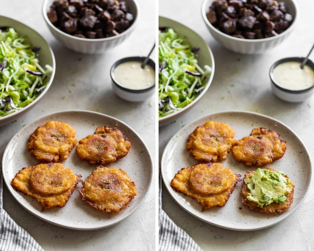 collage of plantains with mashed avocado