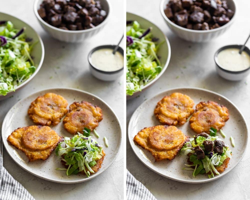 collage of plantains with mashed avocado and carne asada