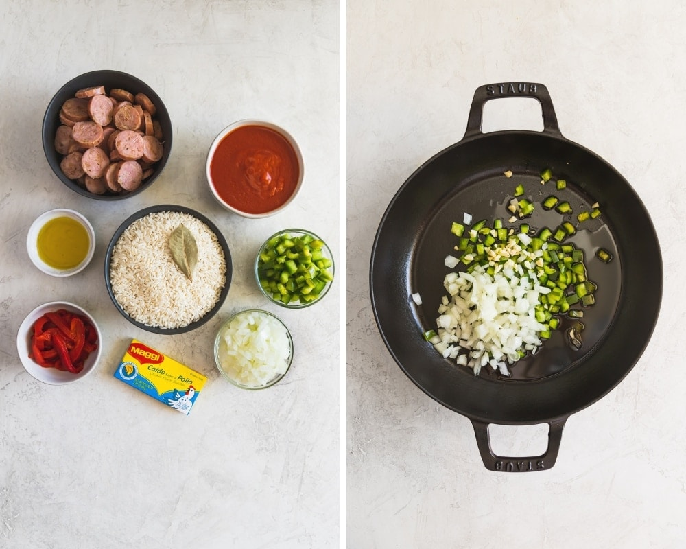 ingredients for arroz con salchicha in a skillet