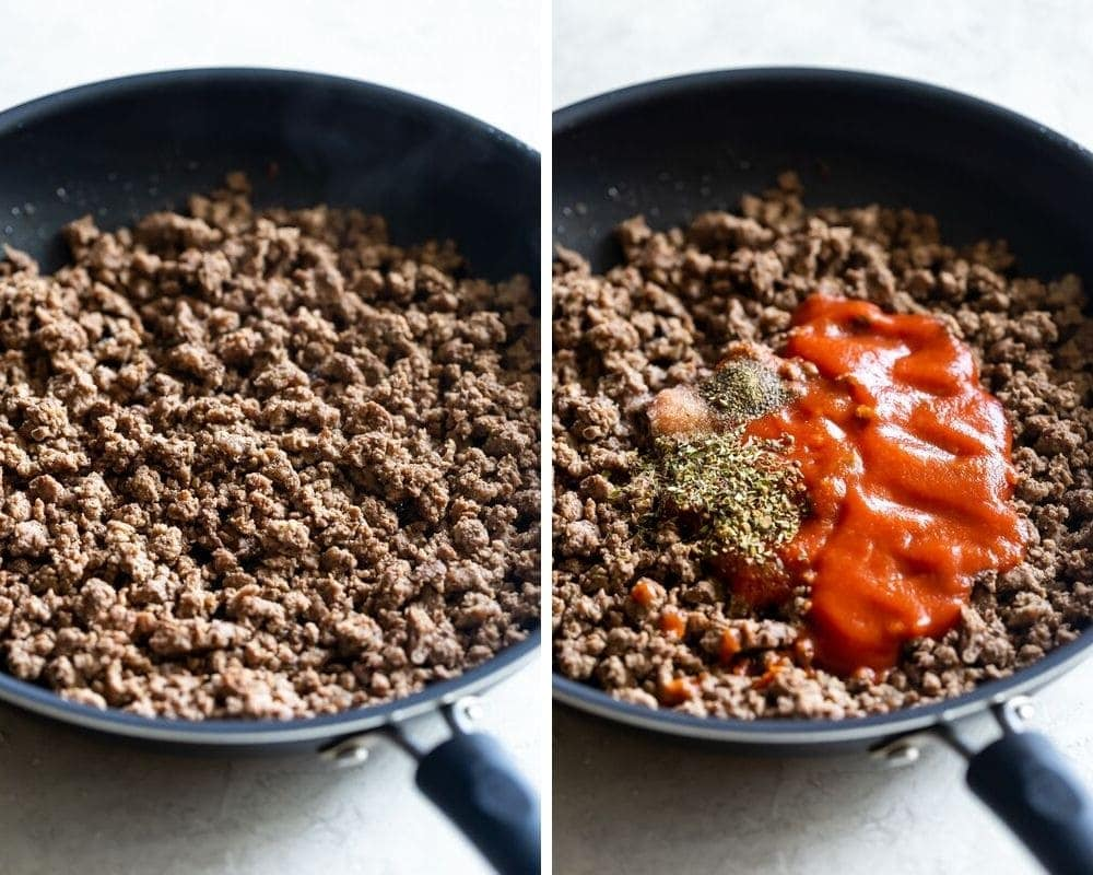 browning ground beef and adding tomato sauce and spices for picadillo recipe