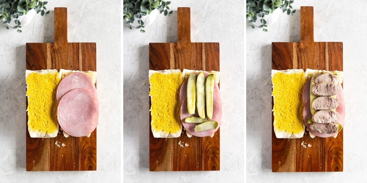 assembly of Cuban sandwich with mustard, cheese, ham, pickles, pork