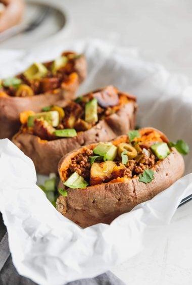 Cuban-Style Stuffed Sweet Potatoes