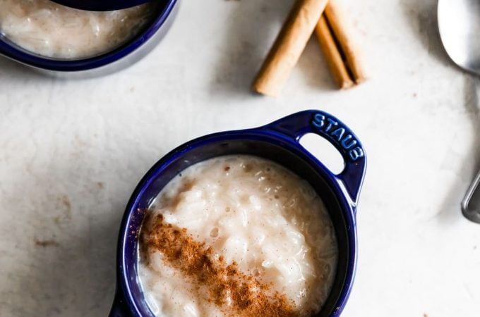 cuban rice pudding with ground cinnamon sprinkled on top