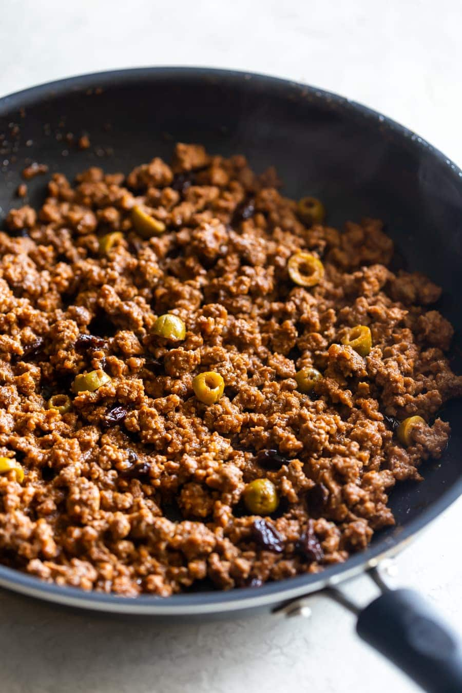 cuban picadillo cooked in a skillet