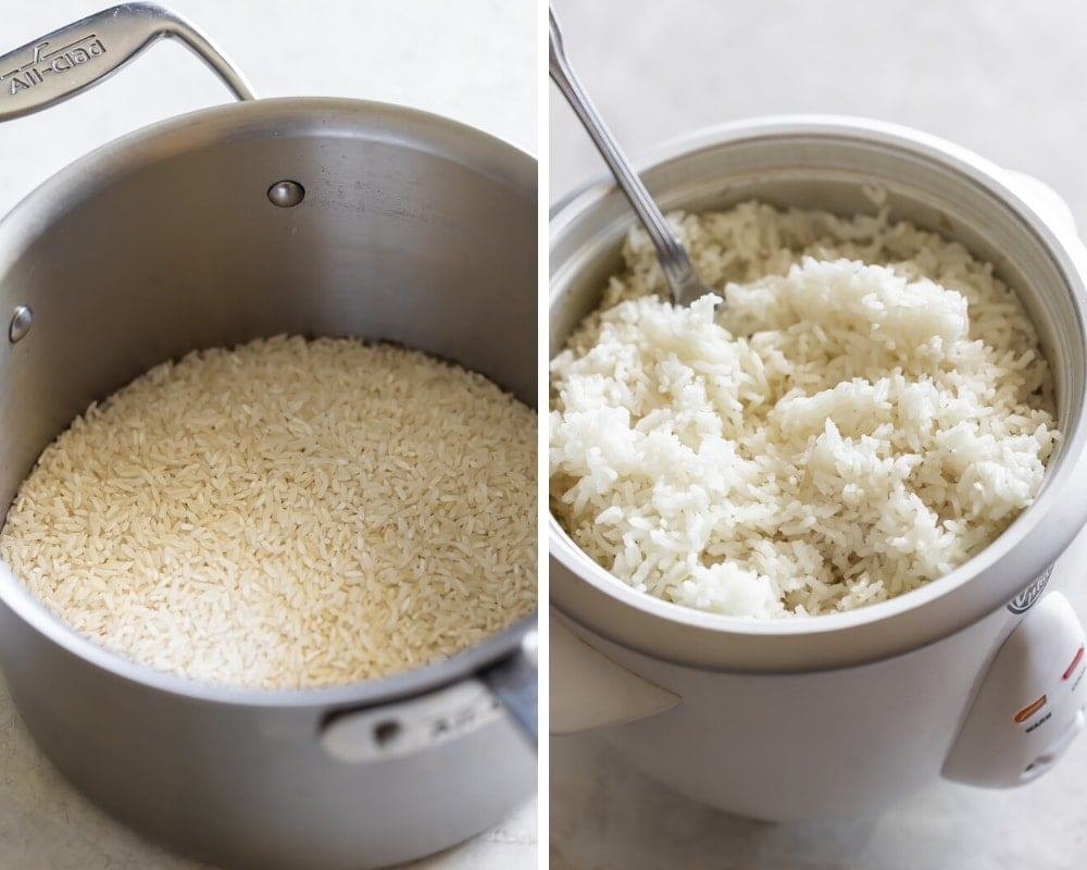 collage show uncooked white rice in a saucepan and cooked white rice in a rice cooker