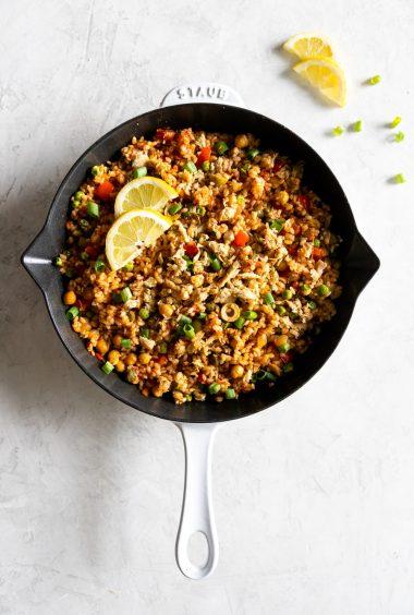 Easy Paella Recipe with Lemon Dill Tuna