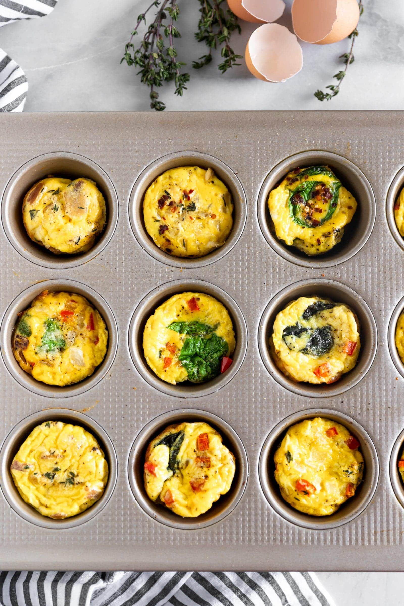 Egg muffin cups in muffin tin after baking