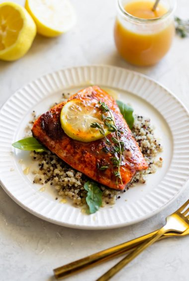 Spicy Salmon with Honey Butter Sauce