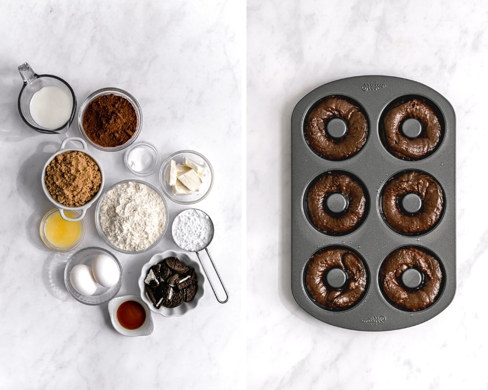 ingredients for oreo donuts and chocolate donuts in donut pan