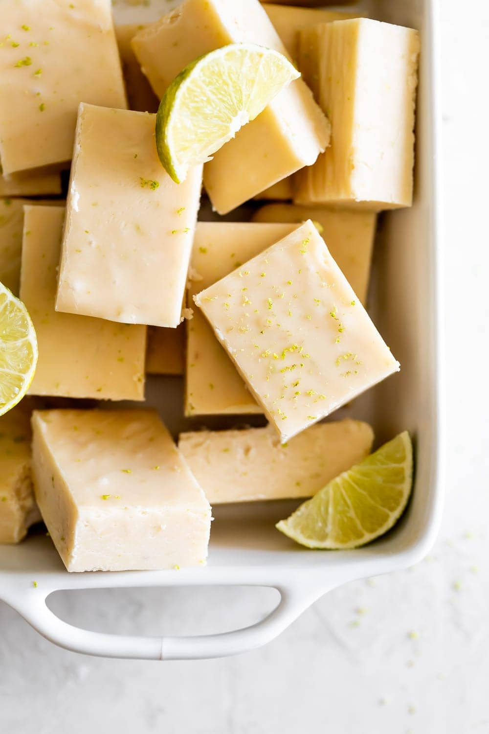key lime fudge squares in a small white baking dish