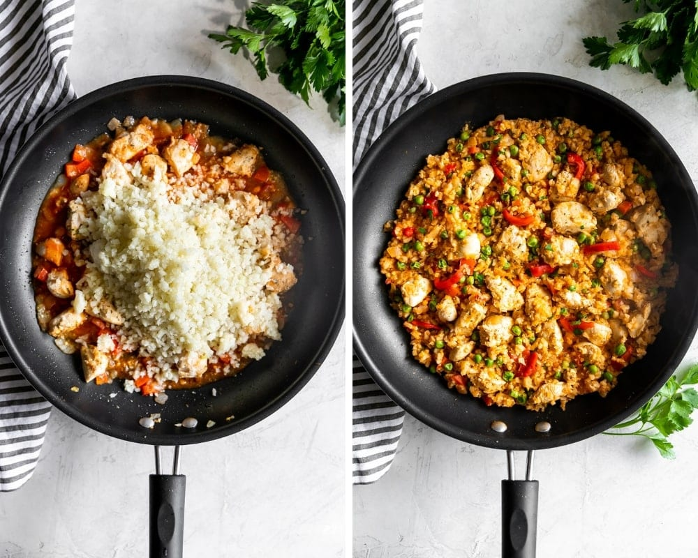 large skillet with ingredients for low carb arroz con pollo