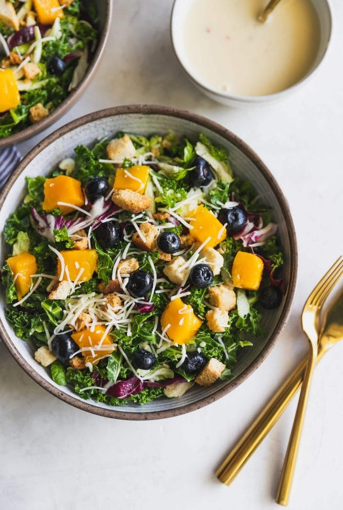 Mango Blueberry Asiago Kale Salad